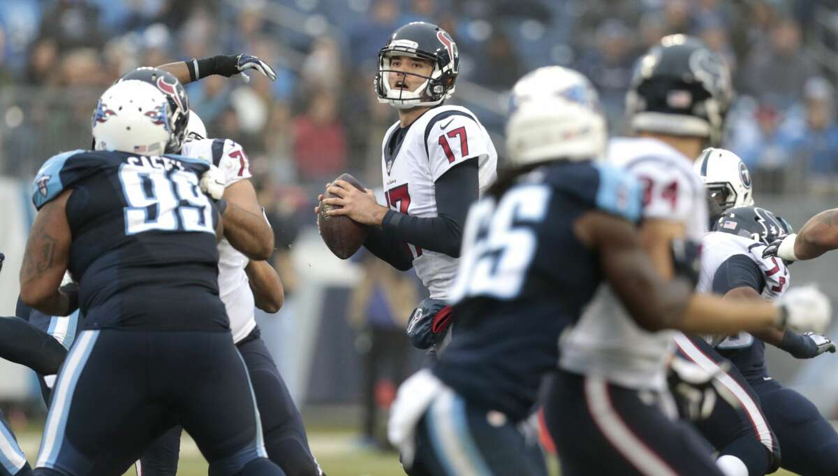Houston Texans quarterback Brock Osweiler (17) drops back to pass against the Tennessee Titans during the fourth quarter of an NFL football game at Nissan Stadium on Sunday, Jan. 1, 2017, in Nashville. ( Brett Coomer / Houston Chronicle )