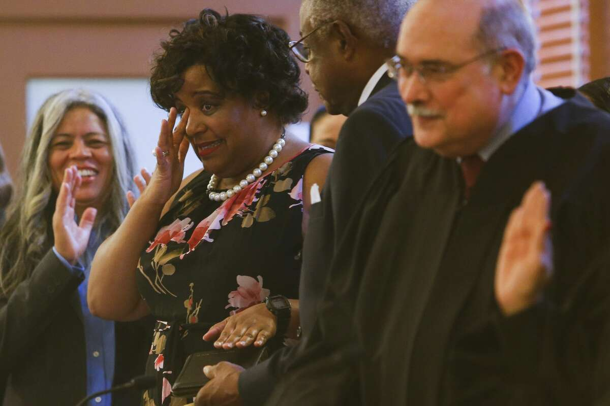 Harris County 165th Judicial District Judge Ursula Hall cries tears of joy after being sworn in at the historic 1910 Harris County Courthouse Sunday, Jan. 1, 2017 in Houston. ( Michael Ciaglo / Houston Chronicle )