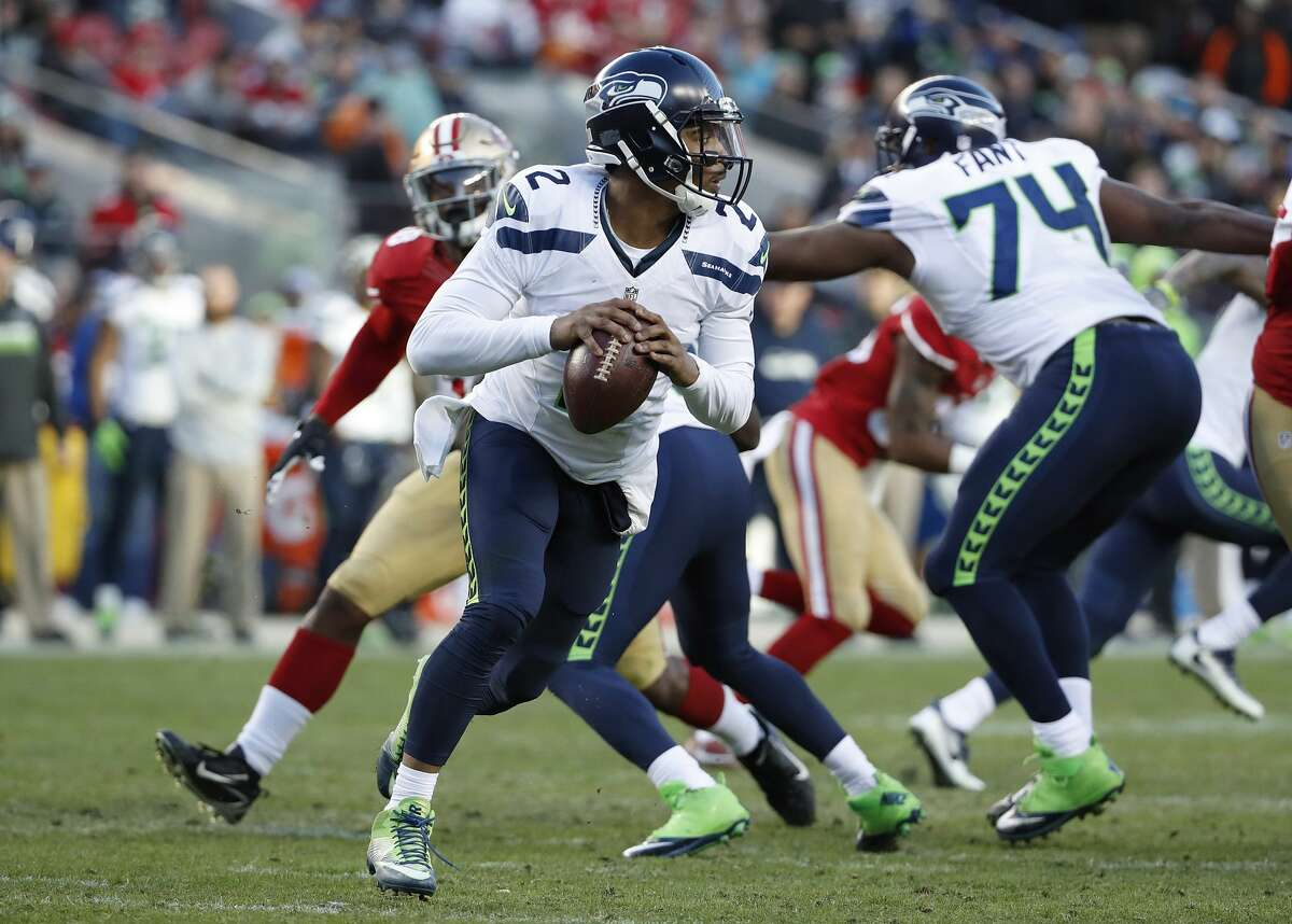 Seattle Seahawks quarterback Trevone Boykin (2) against the San Francisco 49ers during the second half of an NFL football game in Santa Clara, Calif., Sunday, Jan. 1, 2017. (AP Photo/Tony Avelar)