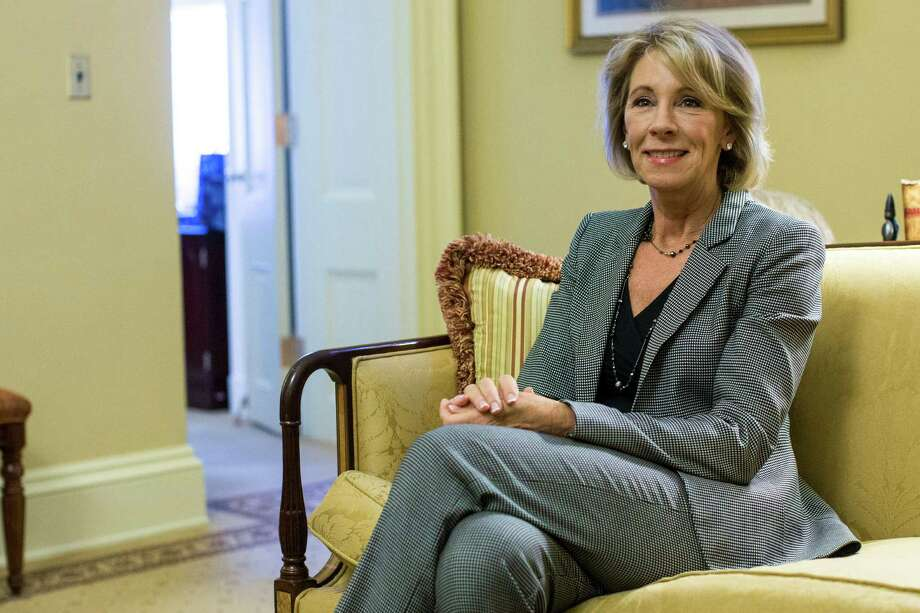 FILE -- Betsy DeVos, President-elect Donald Trump's nominee for secretary of education, at a meeting with Senate Majority Leader Mitch McConnell (R-Ky.) at the U.S. Capitol in Washington, Dec.1 , 2016. In Detroit DeVos argued that the city's schools should simply be shut down and the system turned over to charters, or the tax dollars given to parents in the form of vouchers to attend private schools. (Al Drago/The New York Times) Photo: AL DRAGO, STF / NYTNS