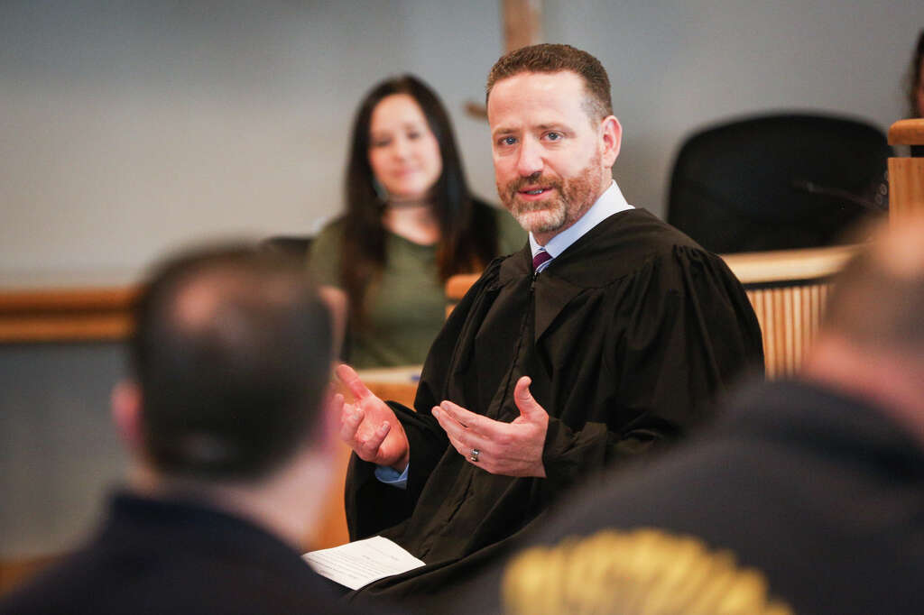 Judge Phil Grant speaks during the oath swearing ceremony on Sunday, Jan. 1, 2017, at the Alan B. Sadler Commissioners Court Building. Photo: Michael Minasi, Staff / © 2017 Houston Chronicle