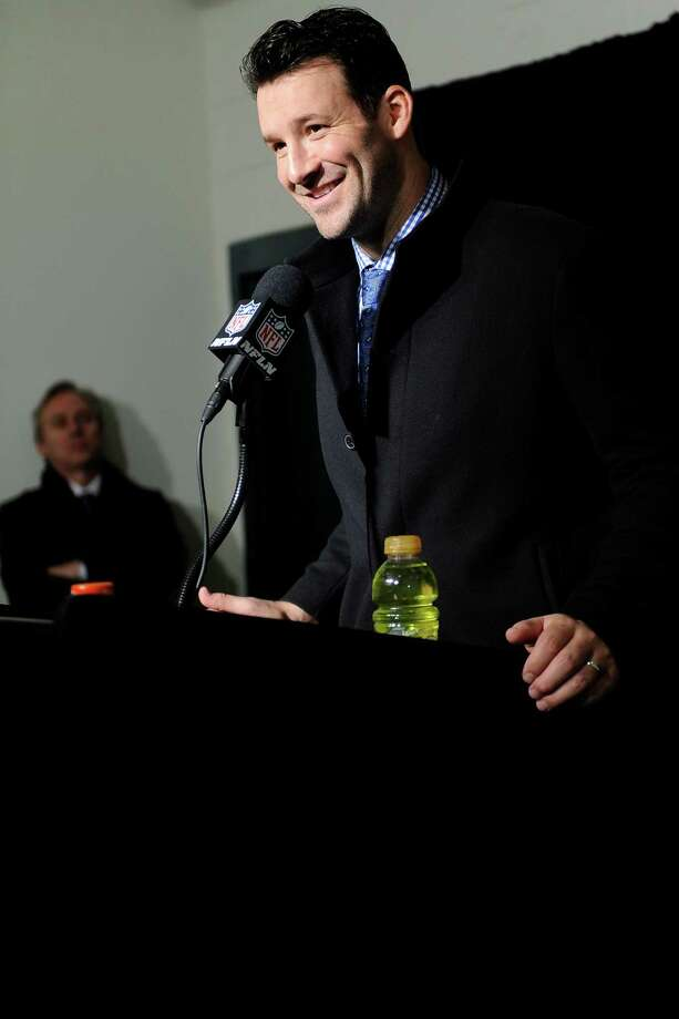 Dallas Cowboys' Tony Romo speaks during a news conference after an NFL football game against the Philadelphia Eagles, Sunday, Jan. 1, 2017, in Philadelphia. (AP Photo/Michael Perez) Photo: Michael Perez, Associated Press / FR168006 AP