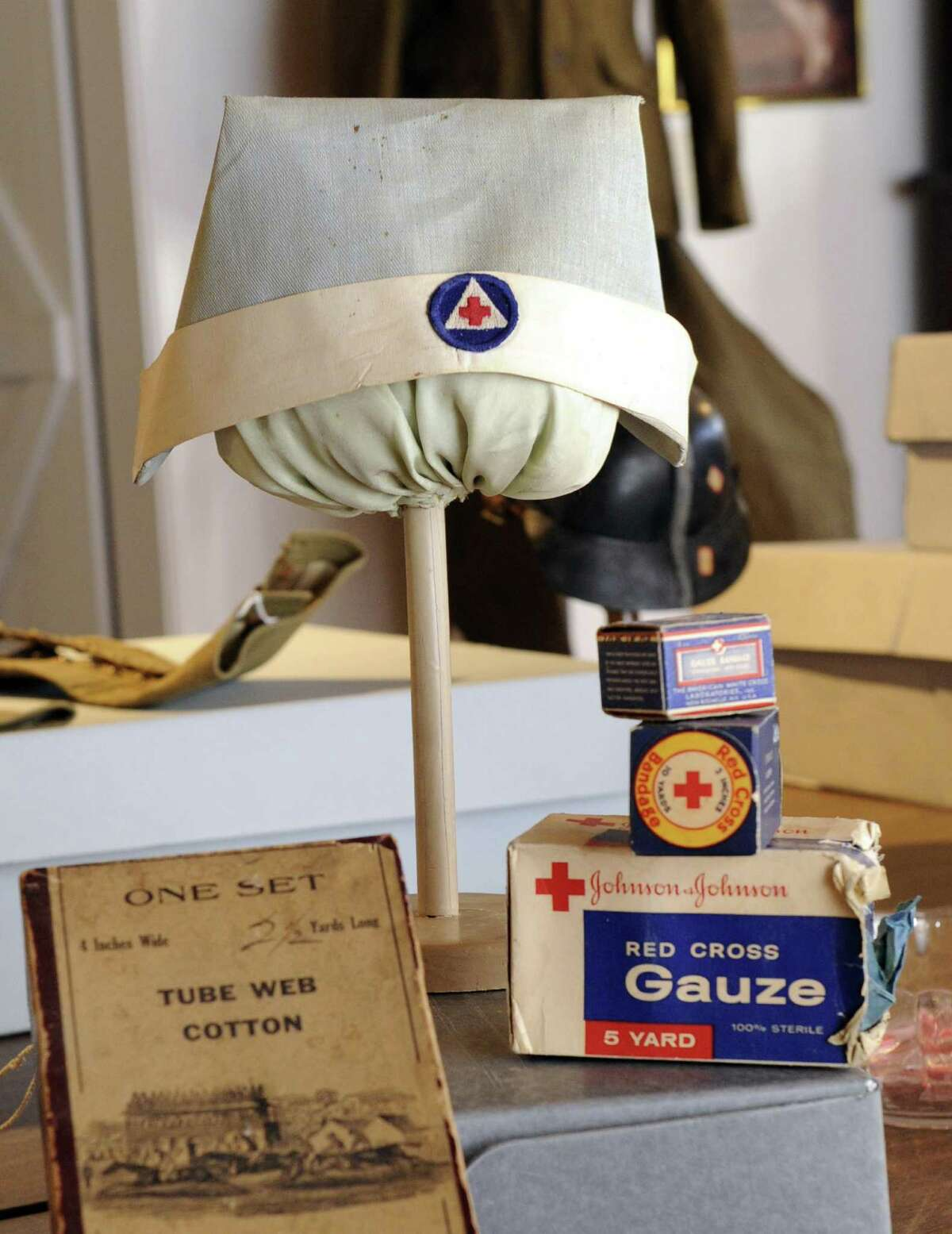 The New Milford Historical Society and Museum is preparing an exhibit of World War I memoribilia and artifacts including this nurse's cap. Photo Friday, Dec. 30, 2016.