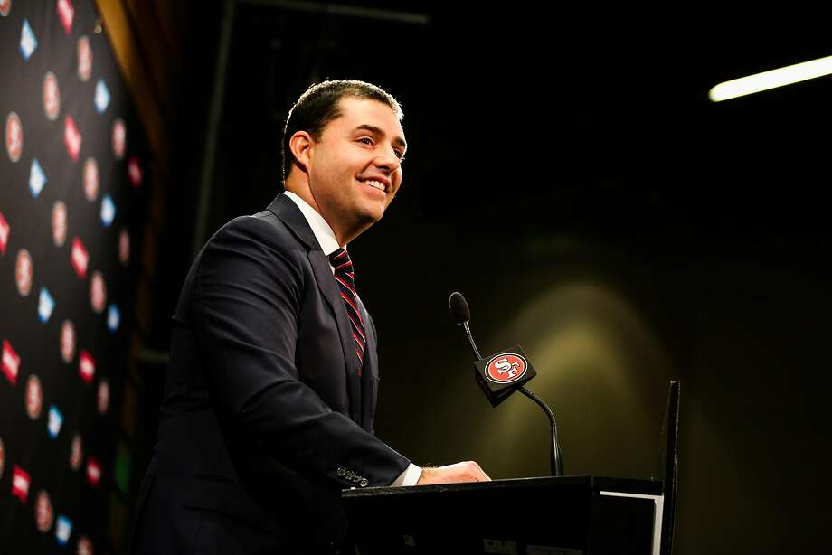 San Francisco 49ers CEO Jed York laguhs while speaking at a press conference regarding the firing of both the general manager Trent Baalke and coach Chip Kelly in Santa Clara, Calif., on Monday, Jan. 2, 2017. Photo: Gabrielle Lurie, The Chronicle