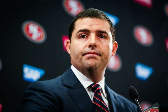 San Francisco 49ers CEO Jed York speaks at a press conference regarding the firing of both the general manager Trent Baalke and coach Chip Kelly in Santa Clara, Calif., on Monday, Jan. 2, 2017.