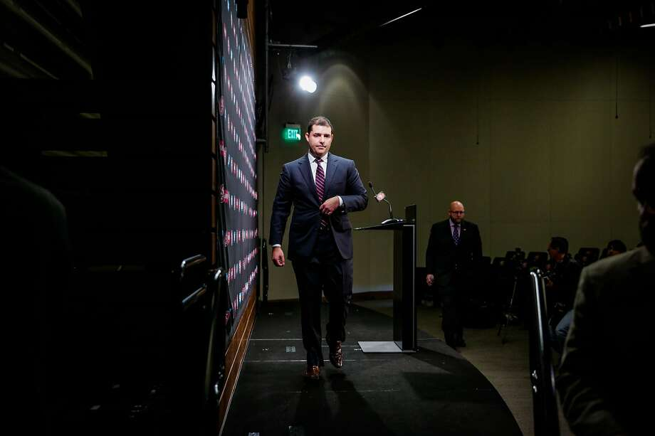 San Francisco 49ers CEO Jed York walks off stage after speaking at a press conference. Photo: Gabrielle Lurie, The Chronicle
