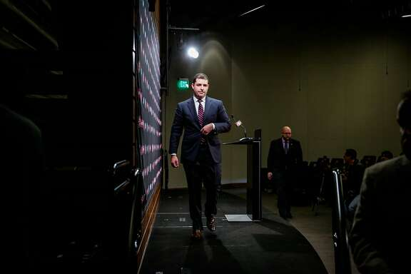 San Francisco 49ers CEO Jed York walks off stage after speaking at a press conference regarding the firing of both the general manager Trent Baalke and coach Chip Kelly in Santa Clara, Calif., on Monday, Jan. 2, 2017.