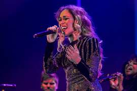 CARDIFF, WALES - NOVEMBER 14:  Rebecca Ferguson performs on stage at St David's Hall on November 14, 2016 in Cardiff, Wales.  (Photo by Mike Lewis Photography/Redferns)