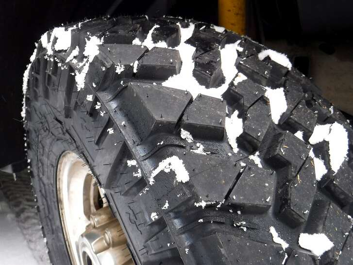 Ready for snow: This is one of the tires on Tom Stienstra's Super Duty 4-wheel-drive pick-up truck