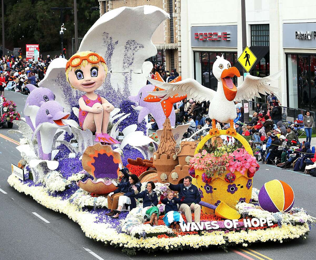 The Animation Trophy on the parade route during the 128th Tournamnet of Roses Parade Presented by Honda on January 2, 2017 in Pasadena, California.