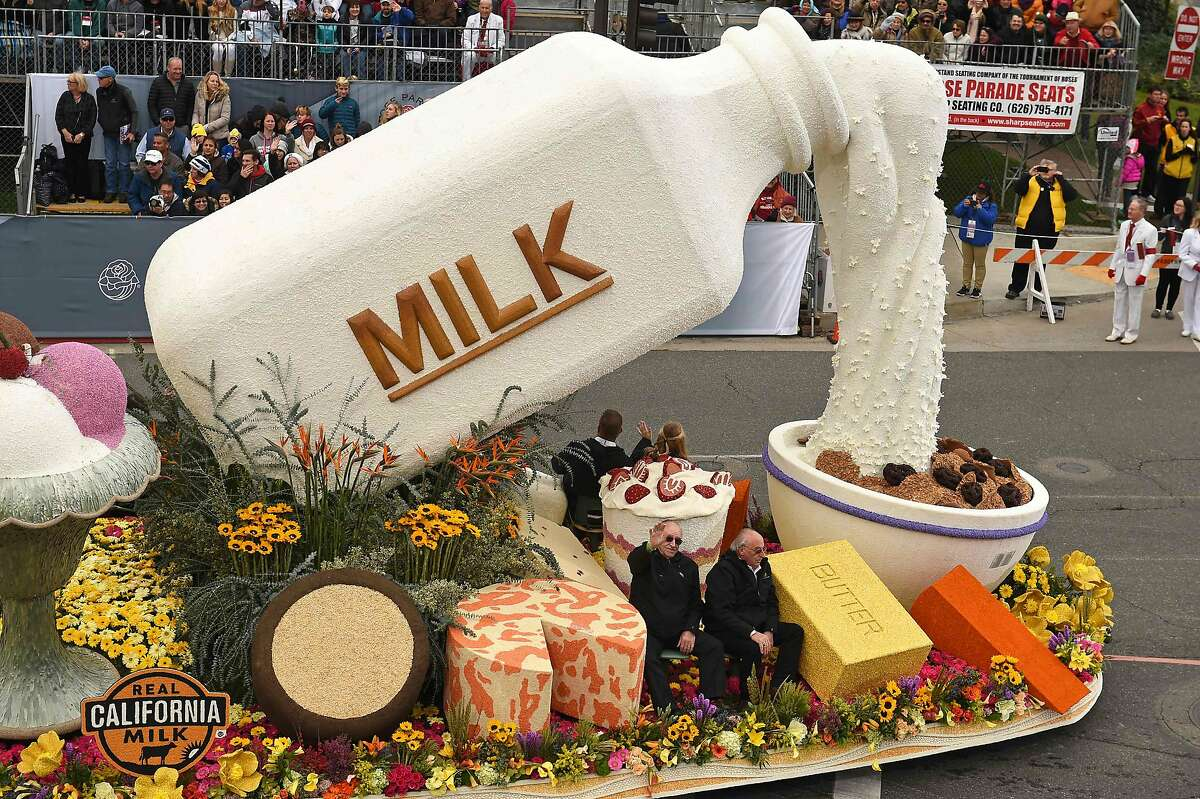 """The California Milk Advisory Board float celebrating California dairy farms participates in the 128th Rose Parade in Pasadena, California, January 2, 2017. The Rose Parade, also known as the Tournament of Roses Parade, is part of """"America's New Year Celebration"""" held in Pasadena, California each year on New Year's Day, or on January 2 if New Year's Day falls on a Sunday. The parade's Never on Sunday tradition dates to 1893, the first year since the start of the event that New Years Day fell on a Sunday. To avoid frightening horses that would be hitched outside churches on a Sunday the parade was moved to the next day, January 2."""