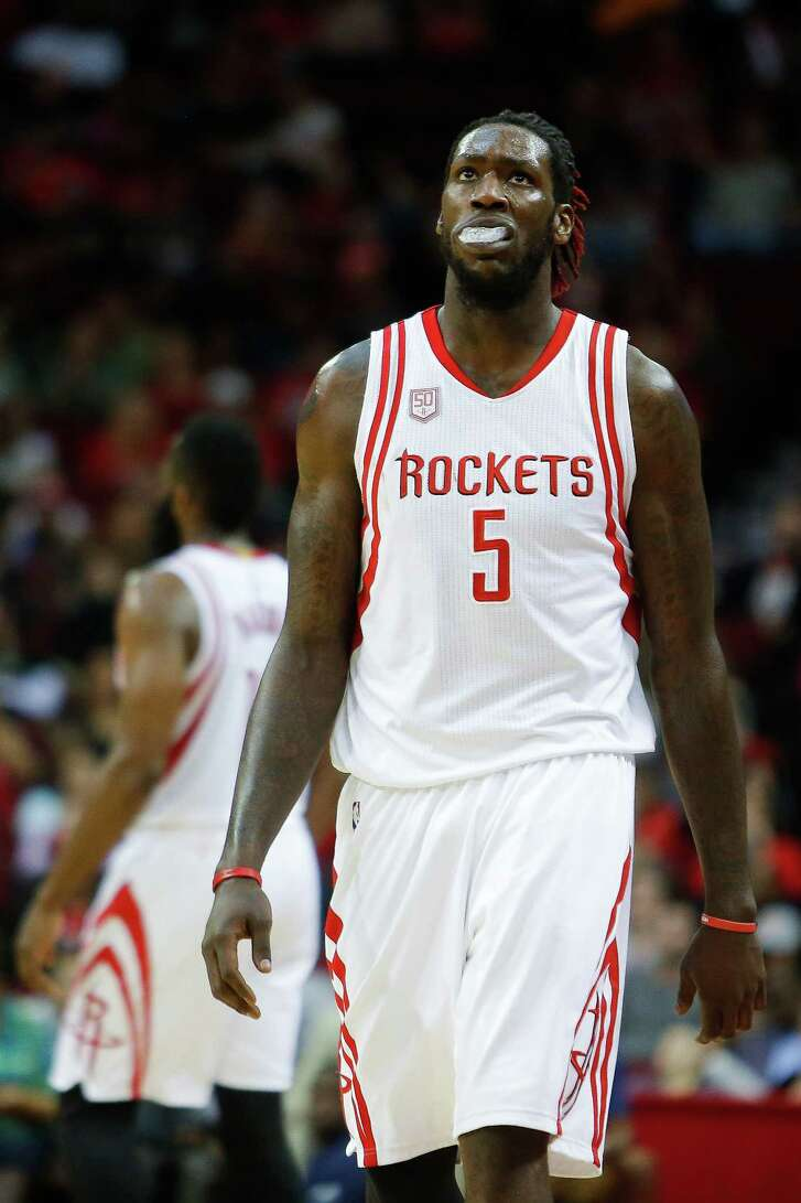 Houston Rockets forward Montrezl Harrell (5) reacts as he heads to the free throw line after being fouled as the Houston Rockets take on the Washington Wizards at the Toyota Center Monday, Jan. 2, 2017 in Houston.