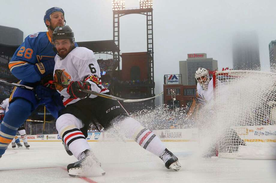 At a venue more associated with ice-cold beer, the ice remained cold enough on a 46-degree day during the Blues' victory over the Blackhawks at Busch Stadium. Photo: Dilip Vishwanat, Stringer / 2017 Getty Images