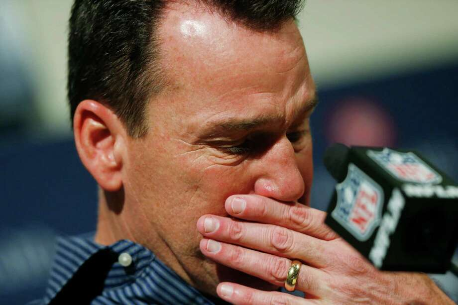 Gary Kubiak had to pause several times while formally announcing his retirement Monday. Photo: David Zalubowski, STF / Copyright 2017 The Associated Press. All rights reserved.
