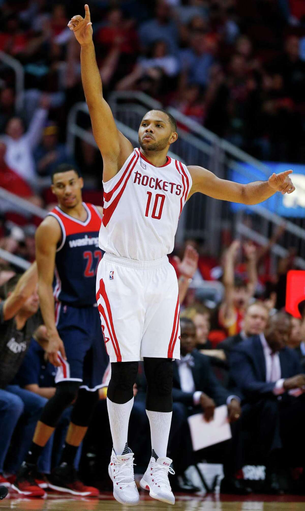 Houston Rockets guard Eric Gordon (10) reacts after hitting a three point shot as the Houston Rockets beat the Washington Wizards 101-91 at the Toyota Center Monday, Jan. 2, 2017 in Houston.
