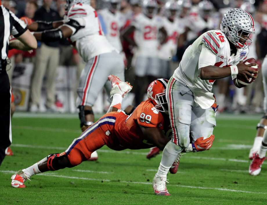 Clemson defensive end Clelin Ferrell (99) during the Fiesta Bowl NCAA college football game against Ohio State, Saturday, Dec. 31, 2016, in Glendale, Ariz. (AP Photo/Rick Scuteri) Photo: Rick Scuteri, FRE / FR157181
