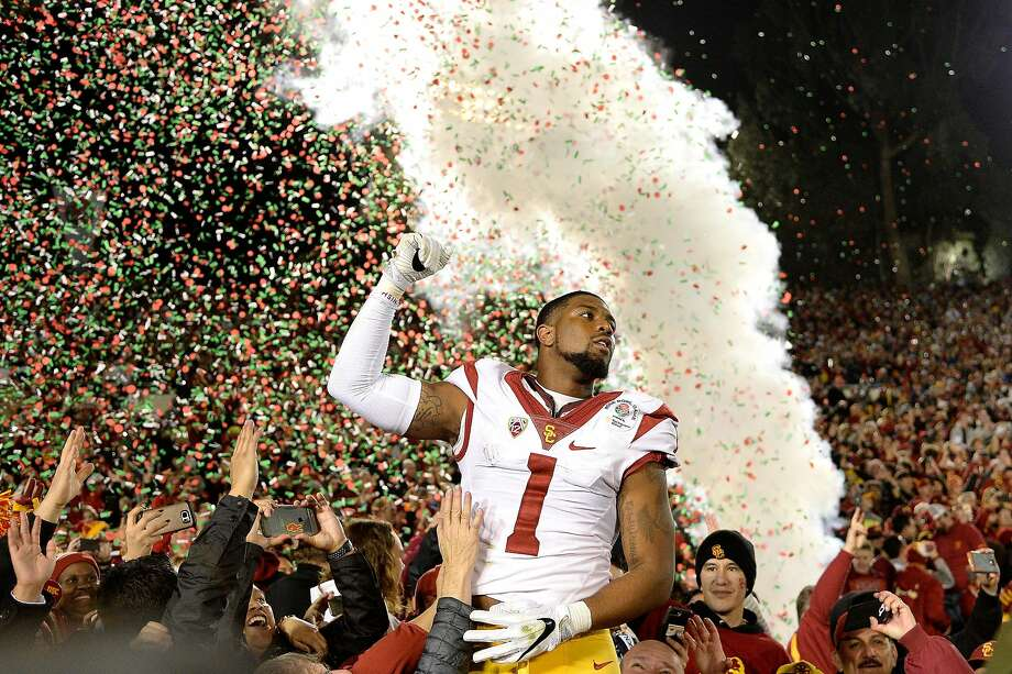Wide receiver Darreus Rogers #1 of the USC Trojans celebrates after defeating the Penn State Nittany Lions 52-49 to win the 2017 Rose Bowl Game presented by Northwestern Mutual at the Rose Bowl on January 2, 2017 in Pasadena. Photo: Kevork Djansezian