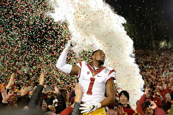 PASADENA, CA - JANUARY 02:  Wide receiver Darreus Rogers #1 of the USC Trojans celebrates after defeating the Penn State Nittany Lions 52-49 to win the 2017 Rose Bowl Game presented by Northwestern Mutual at the Rose Bowl on January 2, 2017 in Pasadena, California.  (Photo by Kevork Djansezian/Getty Images) ***BESTPIX***