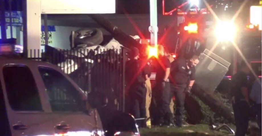 Seven people were sent to the hospital after a vehicle slammed into a Metro bus stop  about 10 p.m. Monday, Jan. 2, 2017, on Richmond near Hillcroft in southwest Houston. (Metro Video)