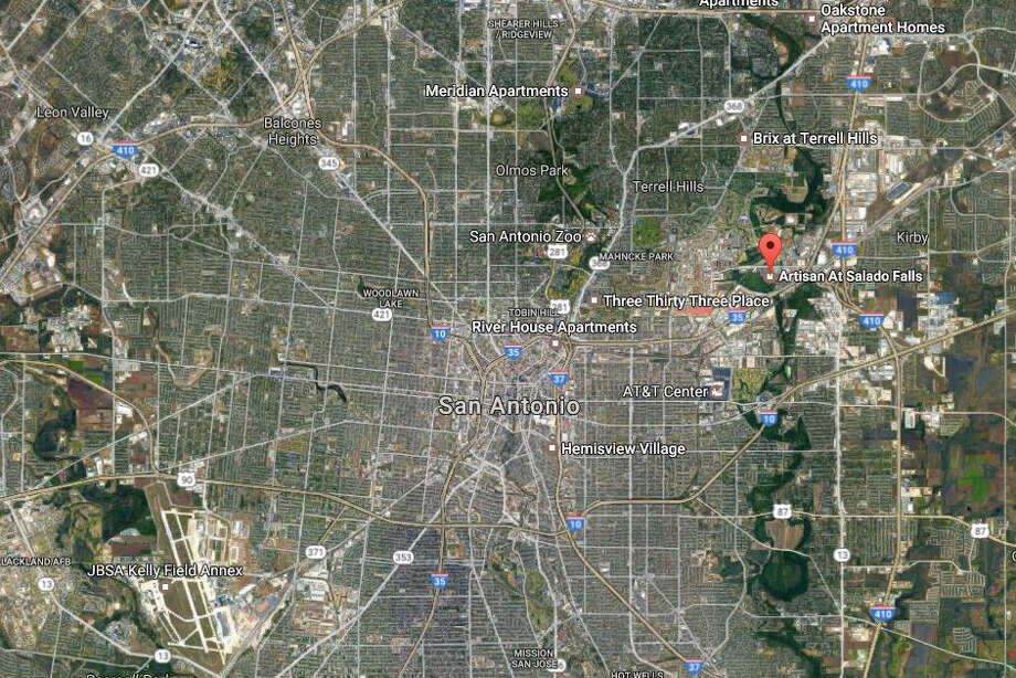 A 33-year-old man was shot at about 5:45 p.m. in the back of the Artisan At Salado Falls apartment complex, according to the San Antonio Police Department. Photo: Google Maps