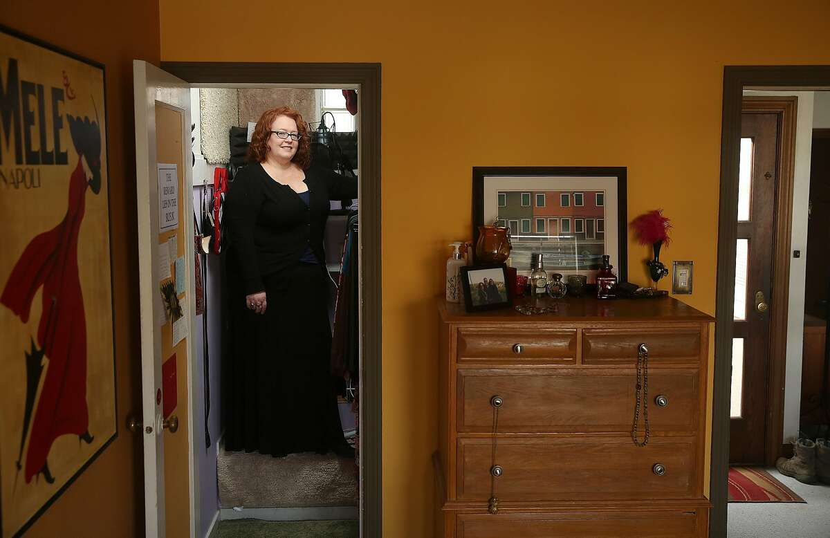 Voice narrator Vicki Baum shows her closet studio at home on Monday, January 2, 2017, in San Francisco, Calif.