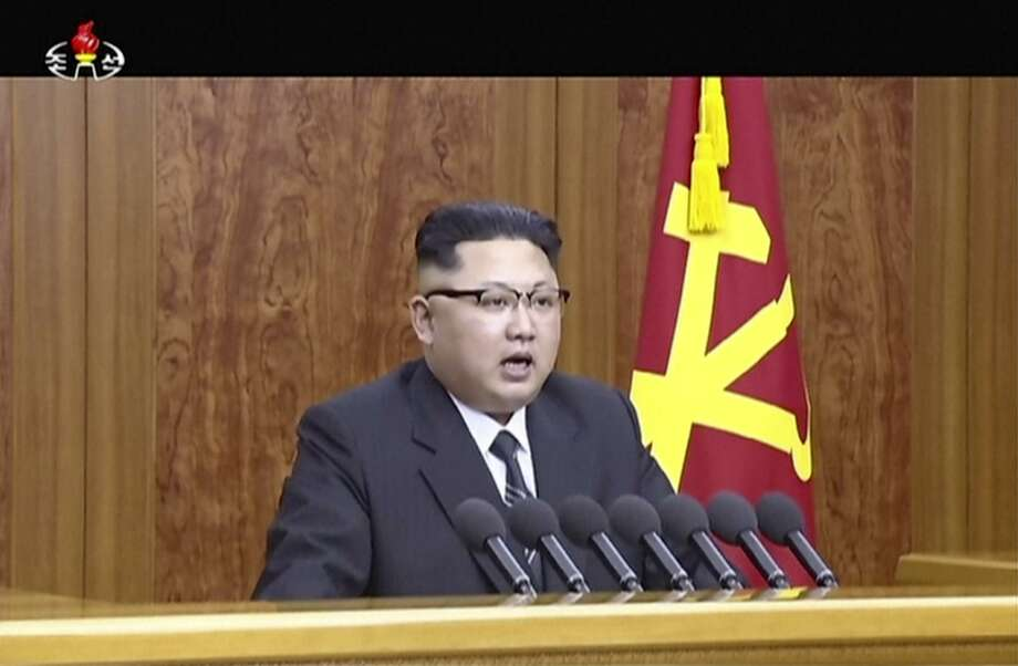 "In this undated image from video distributed on Sunday, Jan. 1, 2017, by North Korean broadcaster KRT, North Korean leader Kim Jong Un delivers a speech in Pyongyang.  North Korean leader Kim Jong Un hinted Sunday that Pyongyang may be hoping to ring in the new year with another bang - the test-launch of an ICBM.  In his annual New Year's address, Kim said that after testing what the North claims was its first H-bomb last year, preparations for launching an intercontinental ballistic missile have ""reached the final stage"". (KRT via AP) Photo: Associated Press / KRT via AP"