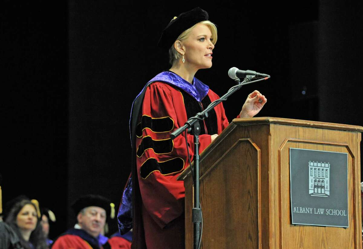 Bethlehem native Megyn Kelly, formerly of Fox News and NBC, gives the commencement address during the 165th Albany Law School Commencement at SPAC on Friday May 20, 2016 in Saratoga Springs, N.Y. (Michael P. Farrell/Times Union)