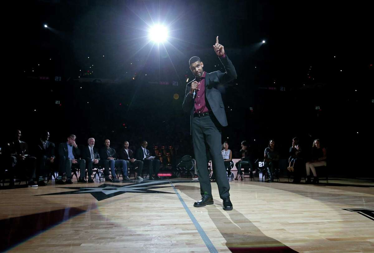 Former San Antonio Spurs player Tim Duncan speaks during his jersey retirement ceremony held after the game with the New Orleans Pelicans Sunday Dec. 18, 2016 at the AT&T Center.