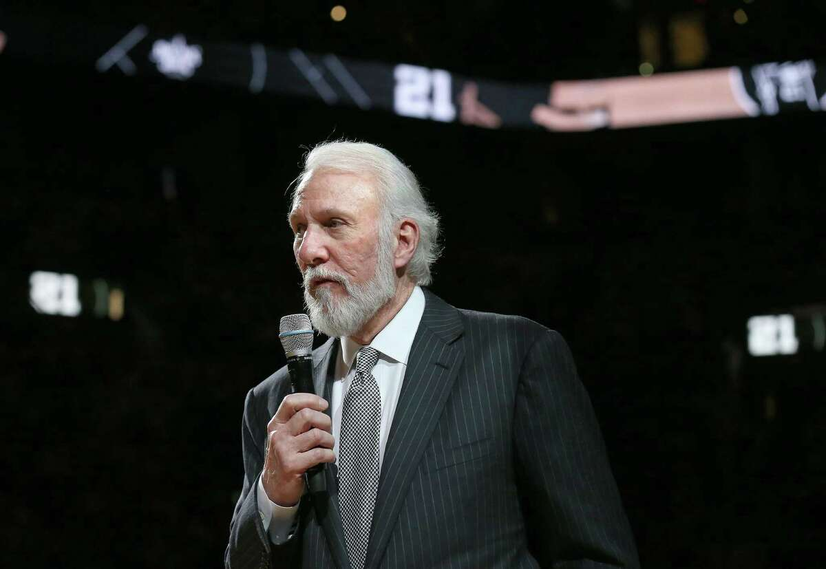 San Antonio Spurs head coach Gregg Popovich speaks during Tim Duncan's No. 21 jersey retirement ceremony held after the game with the New Orleans Pelicans Sunday Dec. 18, 2016 at the AT&T Center.