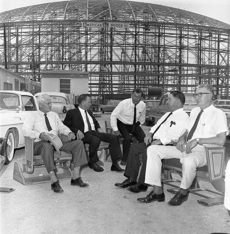 October 1963: Harris County commissioners check out stadium seats for the to-be-completed domed stadium (Astrodome). commissioner Philip Sayers, County Judge Bill Elliott, commissioners W. Kyle Chapman, E.A. (Squatty) Lyons and  V.V. (Red) Ramsey. Photo: Owen Johnson/Houston Chronicle
