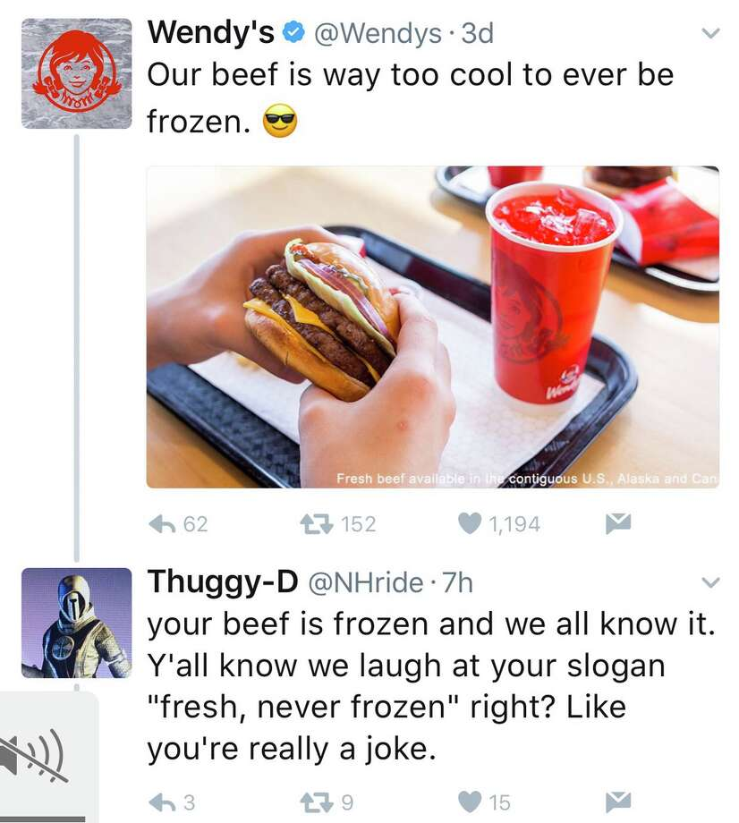 Wendy's showed no mercy to a Twitter user trying to call them out for their fresh-never-frozen patty policy.>>KEEP CLICKING TO SEE THE HILARIOUS SCREENSHOTS OF THE CARNAGE.Photo: Twitter Screenshots Photo: Twitter Screenshots
