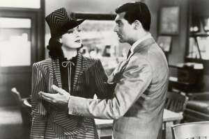 "Rosalind Russell (left) and Cary Grant in a scene from ""His Girl Friday."""