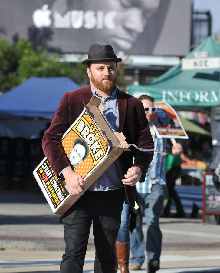 "Stuart Schuffman - aka ""Broke-Ass Stuart"" - campaigns for mayor in the Castro area of San Francisco on September 2, 2015. Schuffman is weathering the double challenge of running for mayor as well as maintaining a website dedicated to helping people live frugally in one of the most expensive cities in the world."