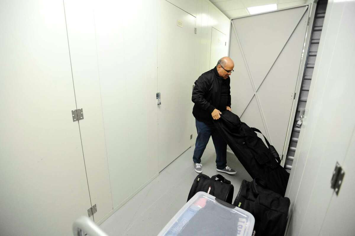 Stamford resident Tony Sanches removes some items from his storage unit inside the Westy Self Storage Center on Brown House Road in Stamford, Conn. on Thursday, Dec. 29, 2016.