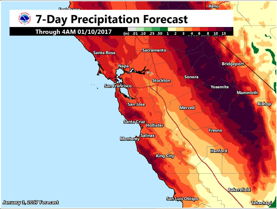 More Than A Foot Of Rain Could Fall In Parts Of California Over Next Week Sfgate