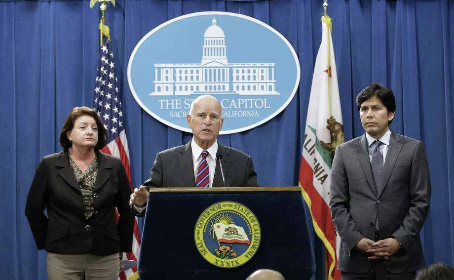 California has gone rogue because of Donald Trump's election. Its leaders are promising opposition. Here, California Gov. Jerry Brown is flanked by Assembly Speaker Toni Atkins, D-San Diego, and Senate President Pro Tem Kevin de Leon, D-Los Angeles. Photo: Rich Pedroncelli /Associated Press / AP