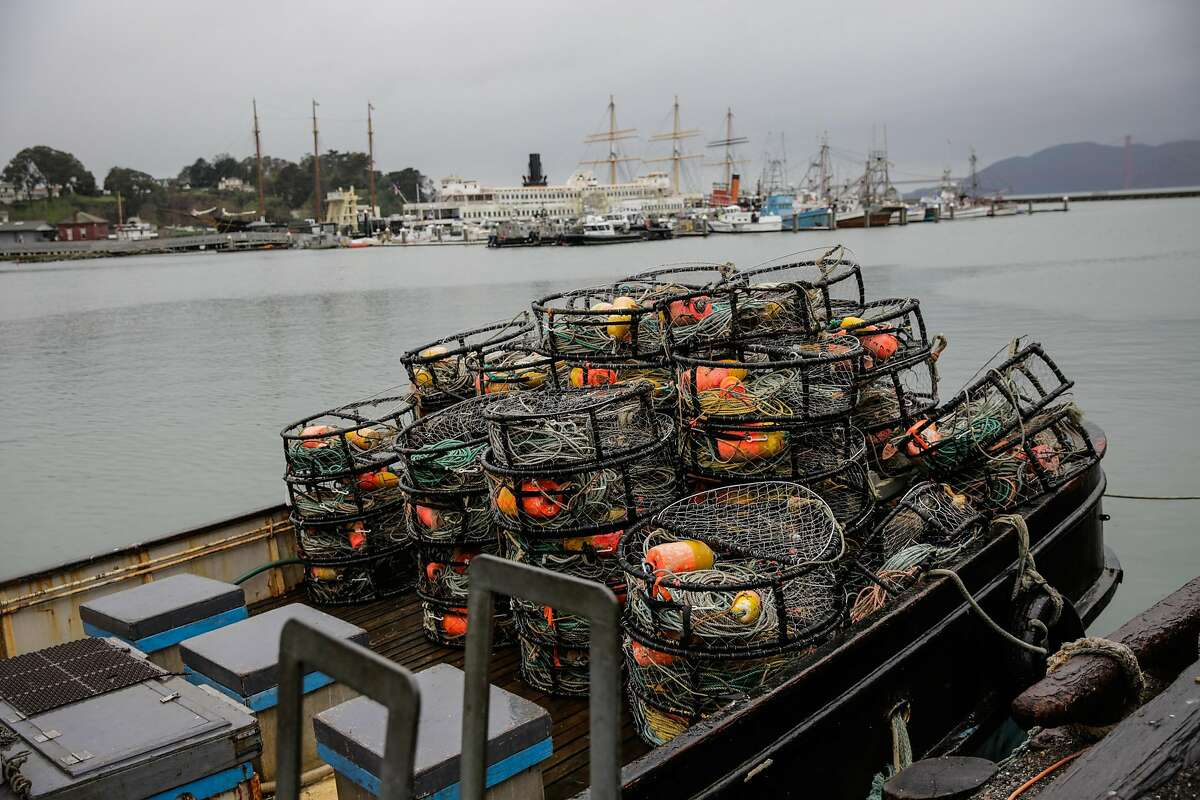 Empty crab traps are seen aboard a boat named Phantom at Fisherman's Wharf in San Francisco, Calif., on Tuesday, Jan. 3, 2017.