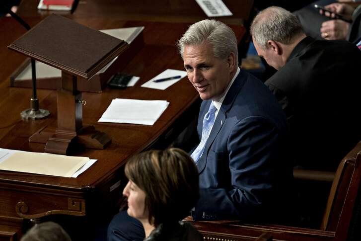 House Majority Leader Kevin McCarthy, a Republican from California, sits in the House Chamber at the U.S. Capitol in Washington, D.C., U.S., on Tuesday, Jan. 3, 2017. Lawmakers take a brief pause from partisan conflict to celebrate the start of the 115th Congress with a parliamentary ceremony that has all the style, pomp and good cheer of a big family wedding. Photographer: Andrew Harrer/Bloomberg
