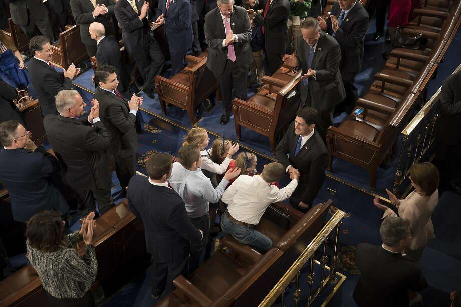 House Speaker Paul Ryan (R-Wis.) greets members of the House after being re-elected as speaker during the opening of the 115th U.S. Congress in the chambers of the House of Representatives at the Capitol in Washington, Jan. 3, 2017. (Stephen Crowley/The New York Times) Photo: STEPHEN CROWLEY, NYT