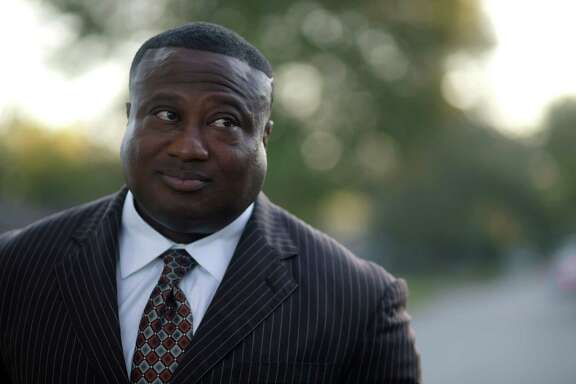 Quanell X, leader of the New Black Panther Party,       during a visit to the South Acres street where he grew up, Wednesday, Oct. 26, 2016, in Houston. Quanell spent time dealing drugs in the area, especially at the intersection three doors down from his grandmother's house.