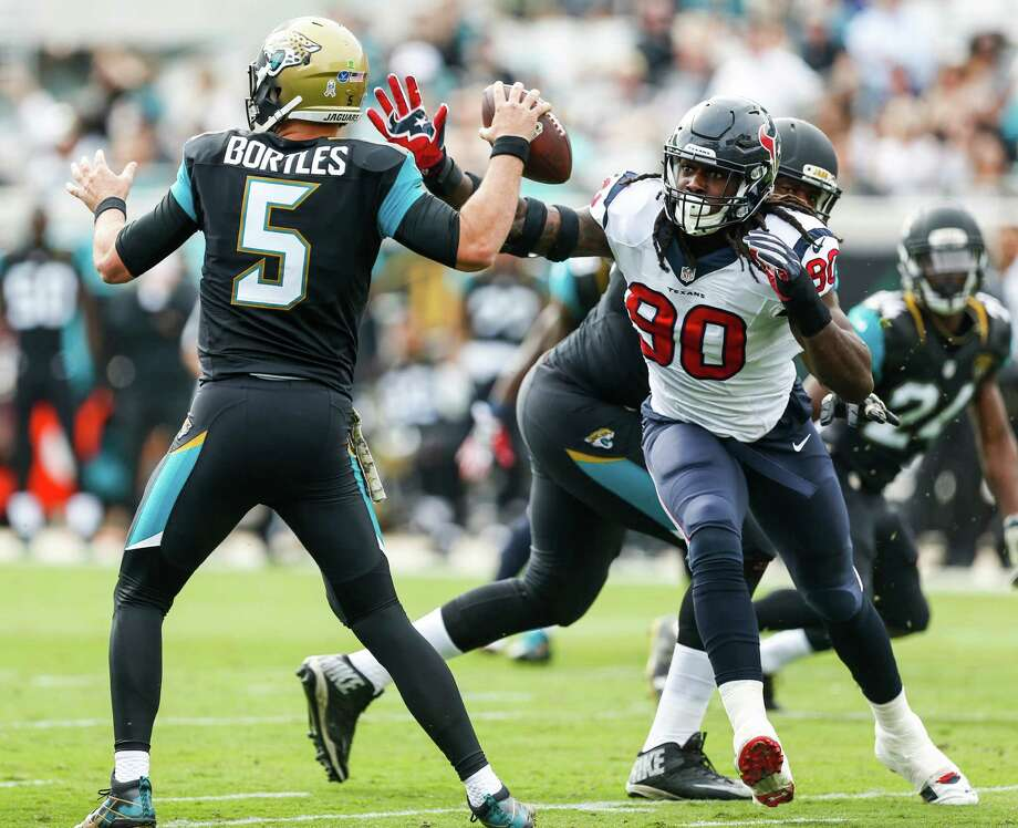 Jadeveon Clowney has seen action in 14 games this season after being limited to 17 in his first two seasons. Photo: Brett Coomer, Staff / © 2016 Houston Chronicle