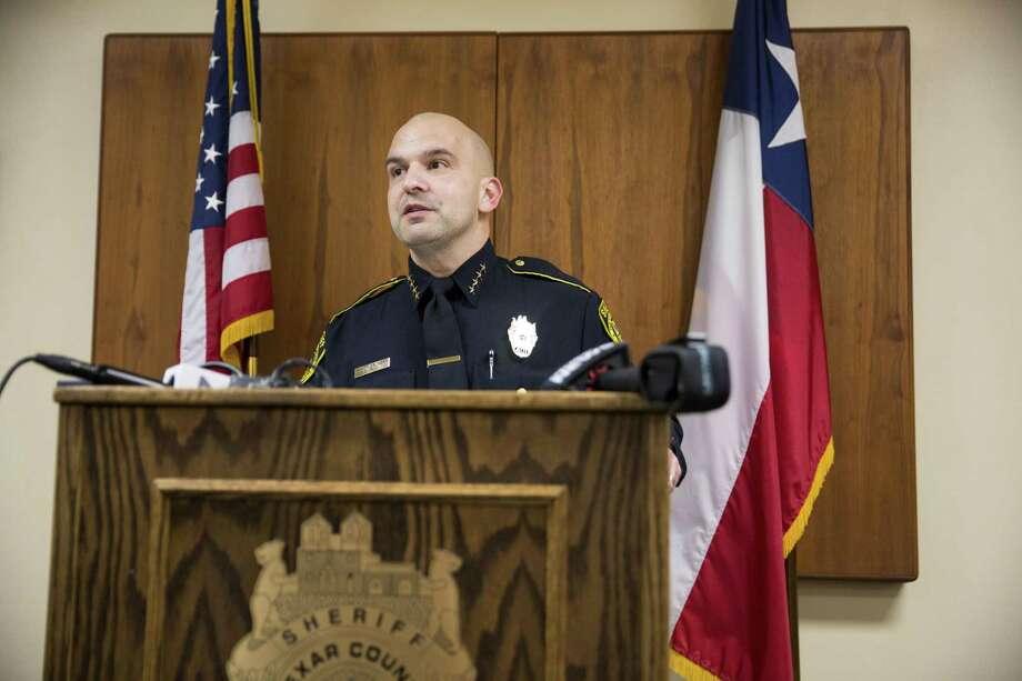 Sheriff Javier Salazar speaks to the press at the Bexar County Sheriff Office on Jan. 3, 2016, in San Antonio. Photo: Carolyn Van Houten /San Antonio Express-News / 2016 San Antonio Express-News