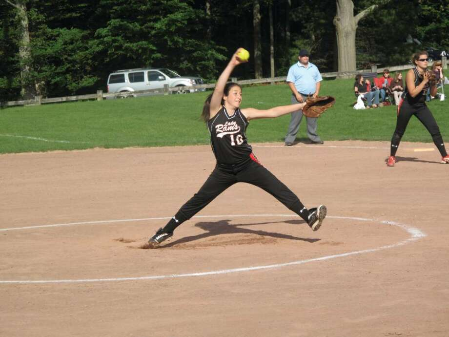 The Rams softball team is in the state playoffs for the first time in eight years thanks in part to the pitching of freshman Cydney Ventura. Photo: Matt Norlander / New Canaan News