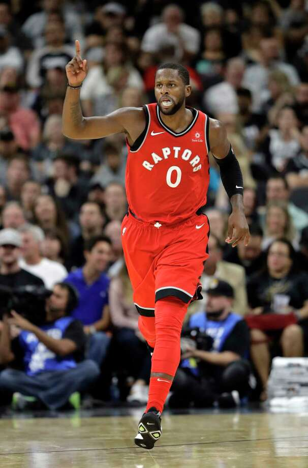 Toronto Raptors forward C.J. Miles (0) reacts after a score during the second half of an NBA basketball game against the San Antonio Spurs, Monday, Oct. 23, 2017, in San Antonio. San Antonio won 101-97. (AP Photo/Eric Gay) Photo: Eric Gay, Associated Press / Copyright 2017 The Associated Press. All rights reserved.