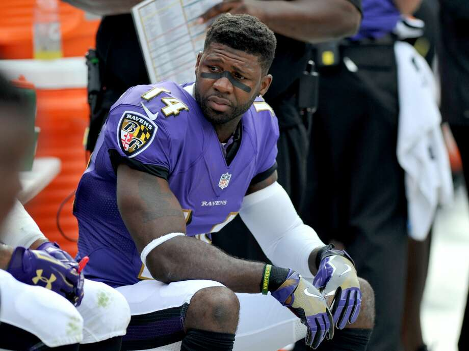 Kick returner Devin Hester of the Baltimore Ravens sits on the sideline during a game against the Cleveland Browns on Sept. 18, 2016 at FirstEnergy Stadium in Cleveland. Baltimore won 25-20. Photo: Diamond Images/Diamond Images/Getty Images