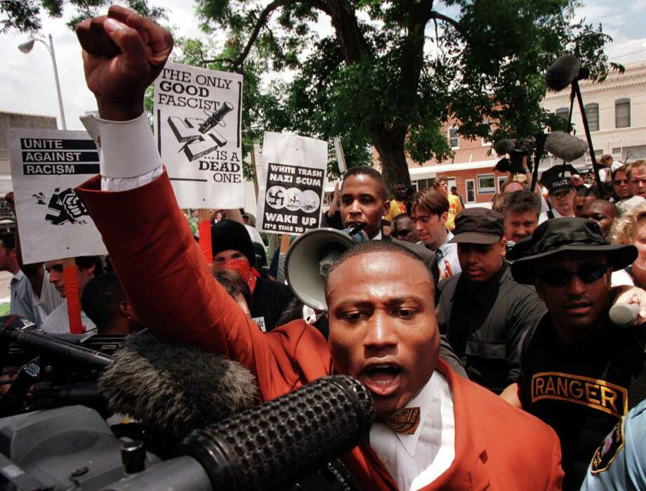In 1998, while representing the Nation of Islam, QuanellX went to the Jasper County Courthouse to disrupt a Ku Klux Klan rally after the dragging death of James Byrd Jr. Photo: Smiley N. Pool / Houston Chronicle