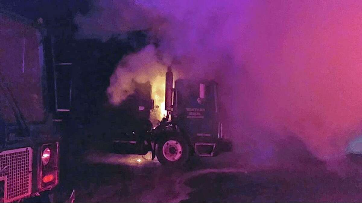 """Firefighters on Tuesday, Jan. 3, 2-17, extinguished a garbage truck fire on Oliver Terrace. It happened around 6:45 p.m.. When firefighters arrived they found a fire """"well involved"""" on the truck, according to Echo Hose Co."""