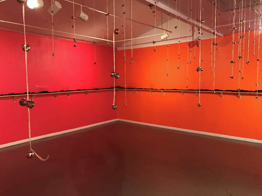 """A view of Ayanna Jolivet Mccloud's """"Score: Field Work,"""" on view through Jan. 14 at Art League Houston. Photo: Molly Glentzer, Houston Chronicle"""