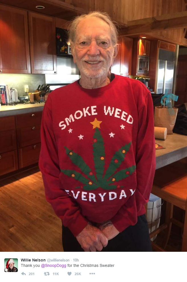 Willie Nelson shows off his Christmas gift from Snoop Dogg - seattlepi.com
