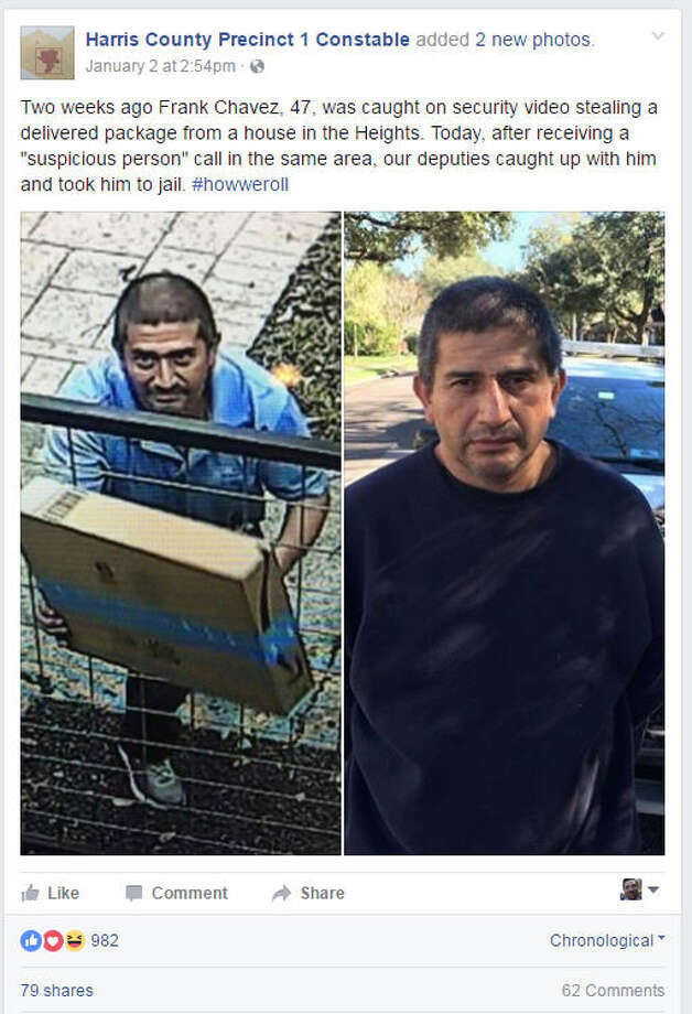 A Harris County constable was quick to shut down racist remarks on his Facebook page.Alan Rosen, the Harris County Constable for Precinct 1, posted on Facebook a photo of a man stealing packages in The Heights, then posted a photo of the man after his arrest. The posting drew comments that could be considered racist. Photo: Facebook